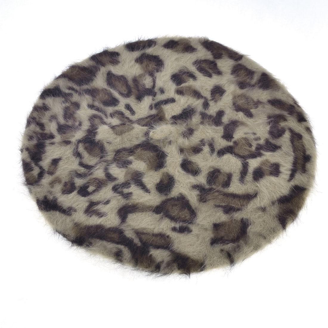 Laides Leopard Prints Warm Soft Flexible Faux Fur Beret