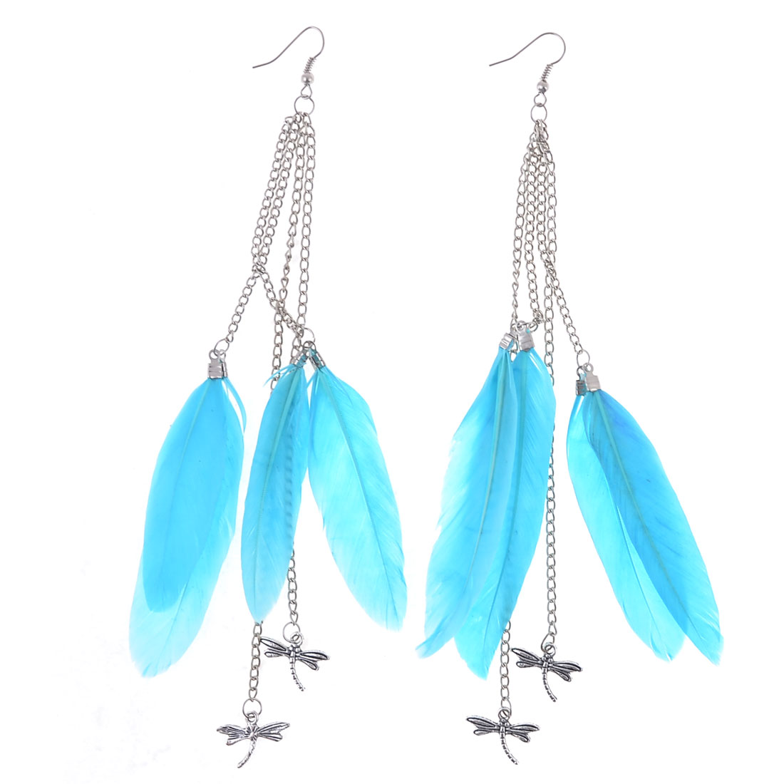 Pair Lady Siver Tone Chain Connect Cyan Feather Pendant Hook Earrings