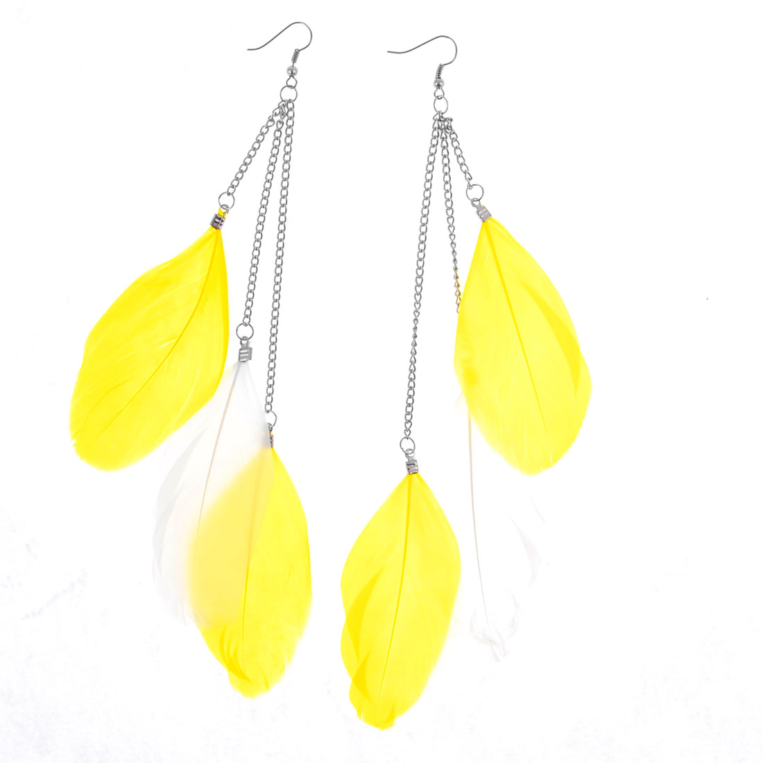 Pair Lady Siver Tone Chain Yellow White Feather Pendant Hook Earrings