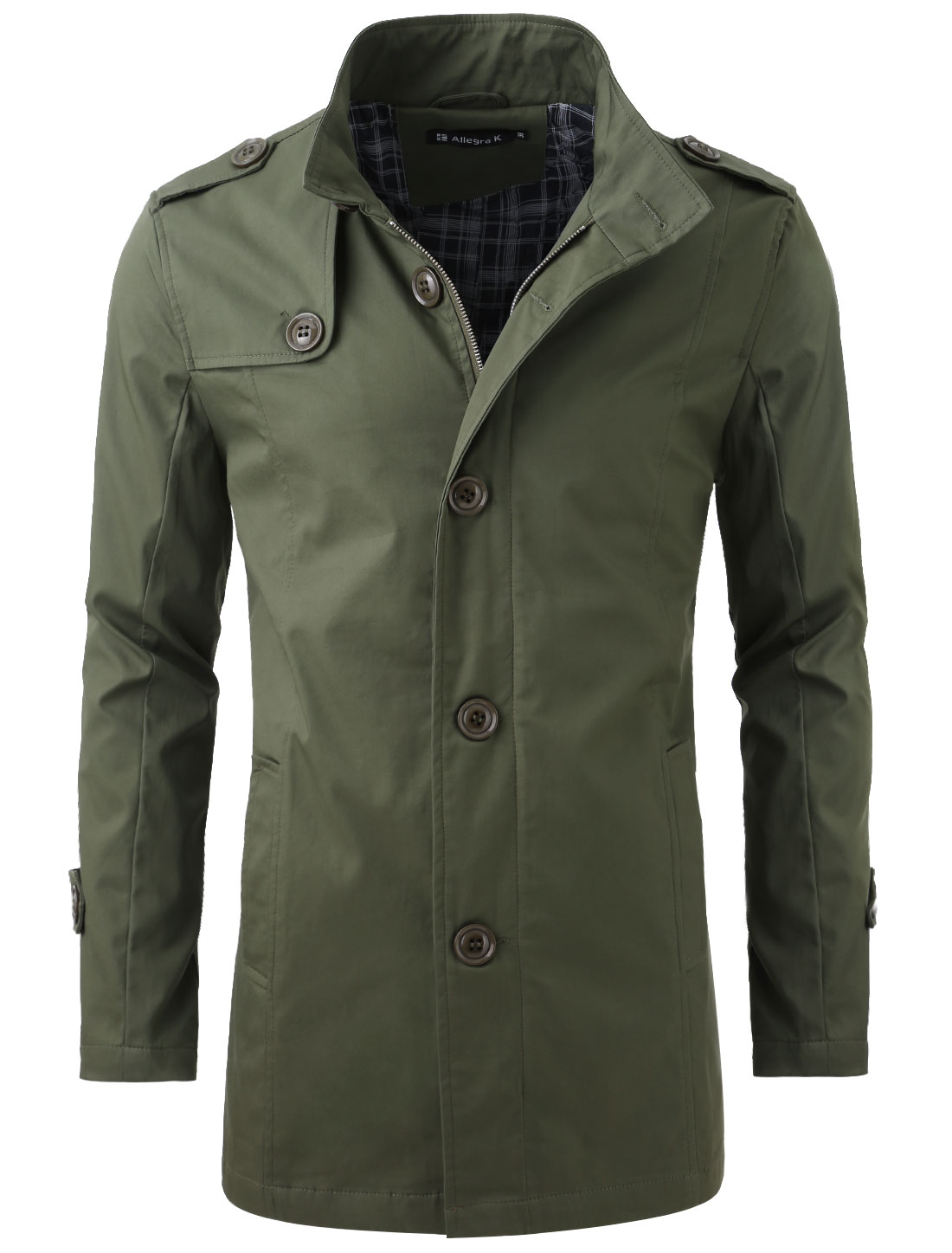 Men Convertible Collar Button Closure NEW Trench Coat Army Green M