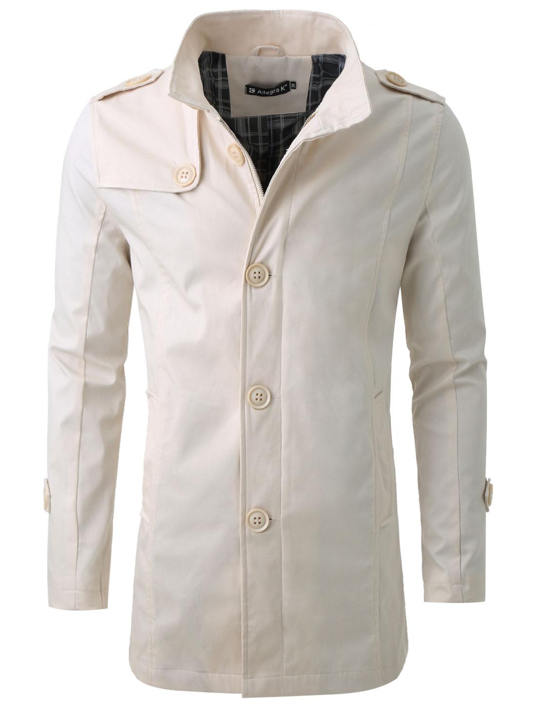 Men Convertible Collar Long Sleeve Fashion Trench Coat Beige L