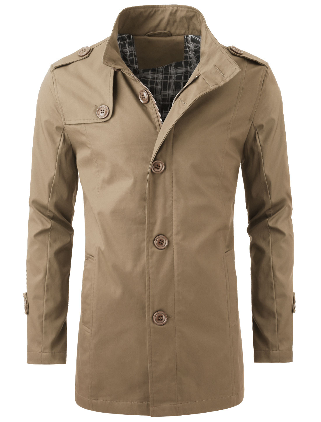 Men Zip Closure Convertible Collar Autumn Wearing Trench Coat Khaki L