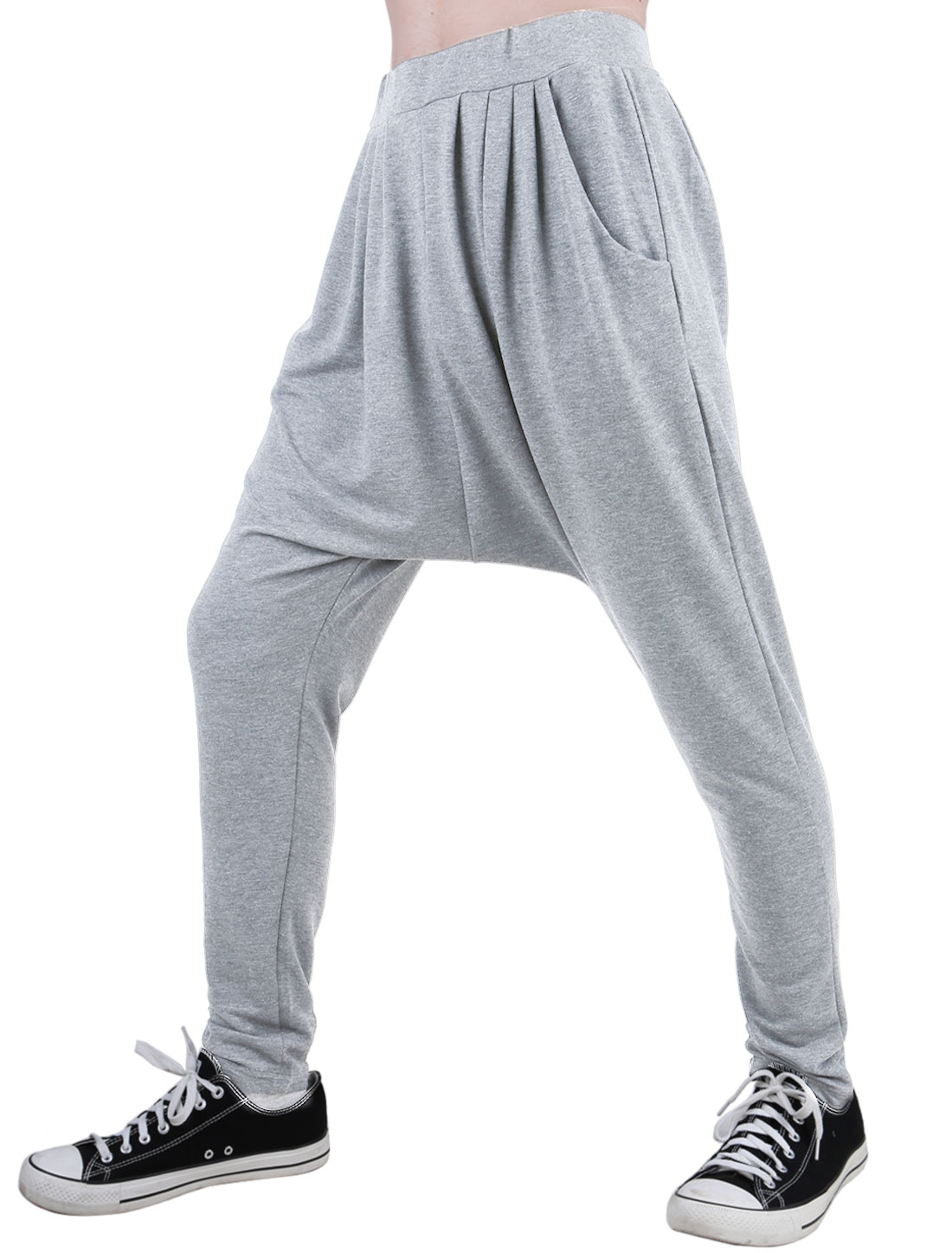 Men Light Gray Casual Elastic Waist Harem Pants W32/34