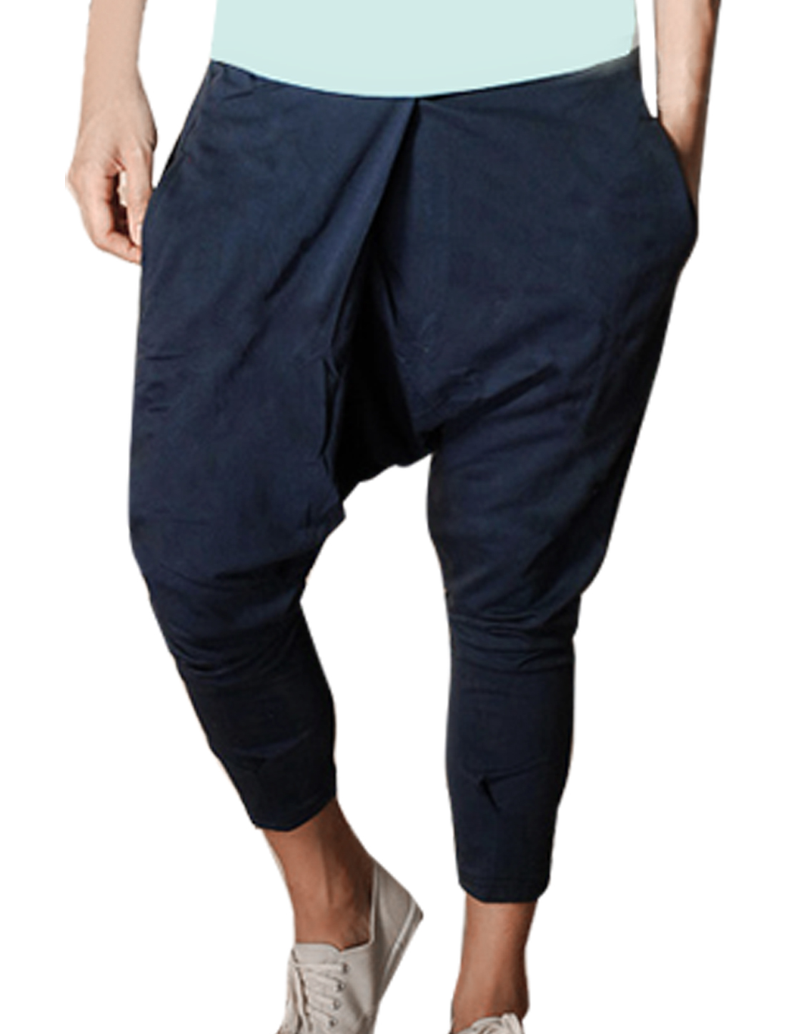 Men Elastic Waist Straight Legs Stylish Harem Pants Dark Blue W36