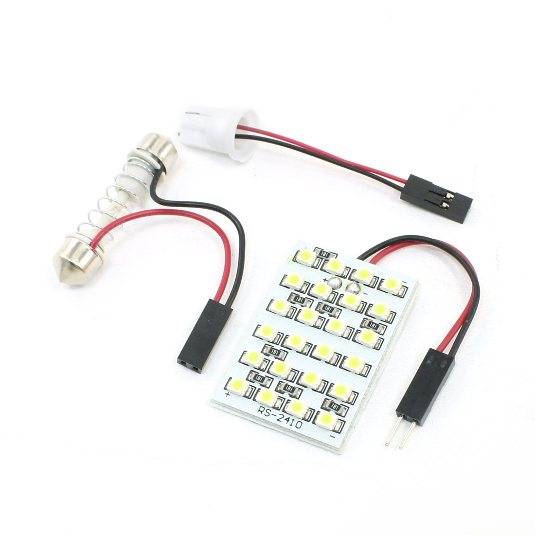 T10 W5W Festoon Adapter White 1210 24 SMD LEDs Light Dome Lamp for Car