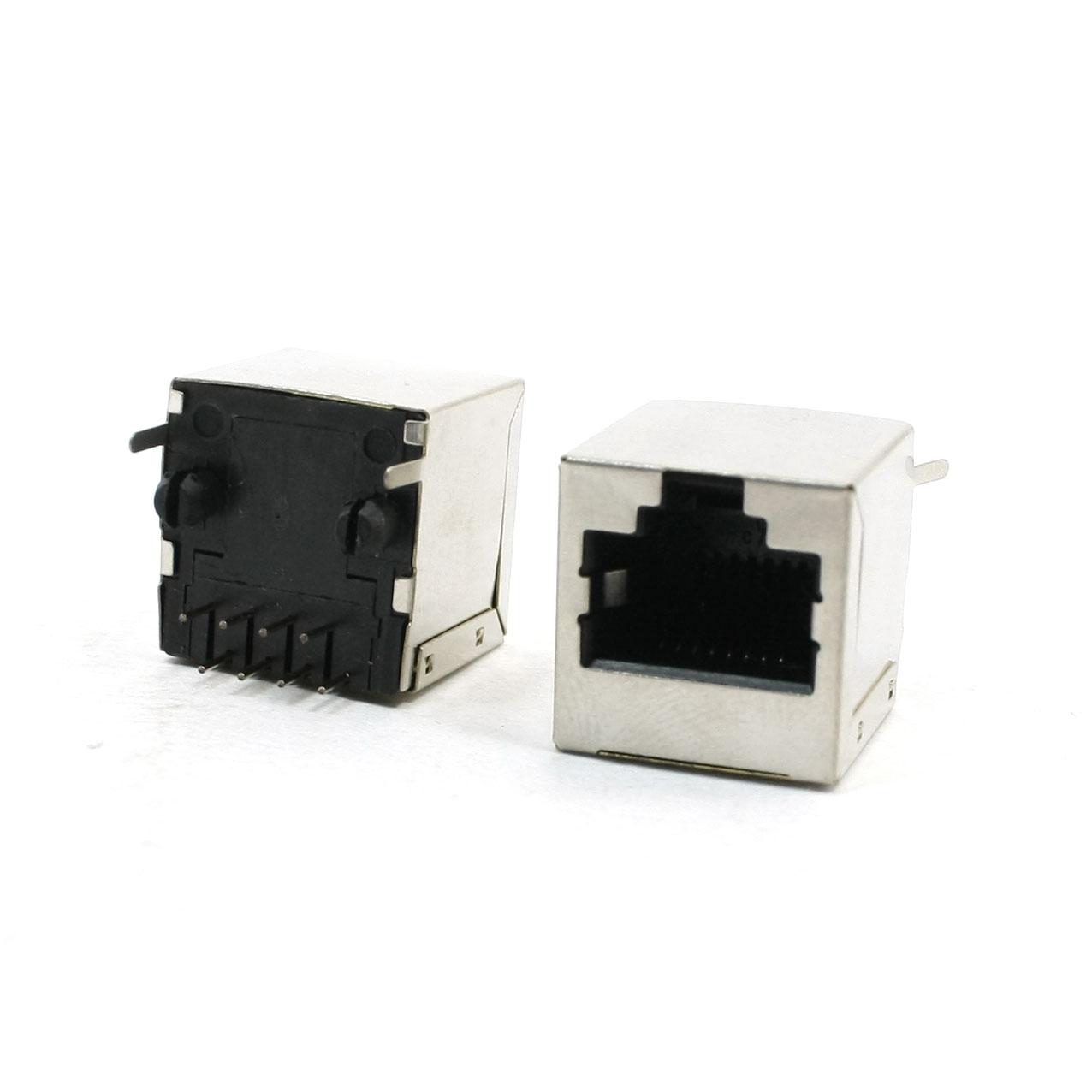 2 Pcs Vertical PCB Mount 8 Pins 8P8C RJ45 Socket 20x17x16mm for LAN
