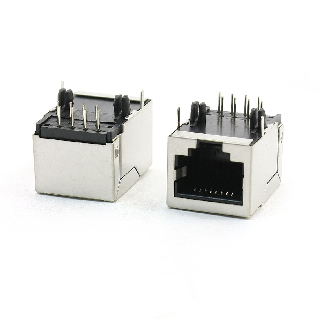 2Pcs Stainless Steel Shielded 8 Pin 8P8C RJ45 PCB Jack 21mmx17mmx16mm