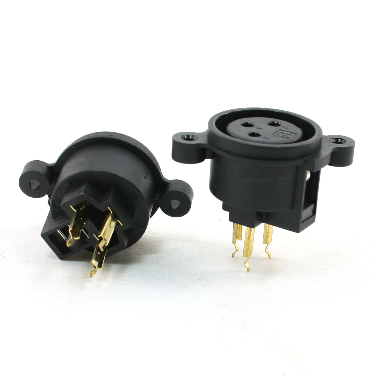 2 Pcs CT3-02HF XLR 3-Pin Female Socket Adapter A/V Equip Connector