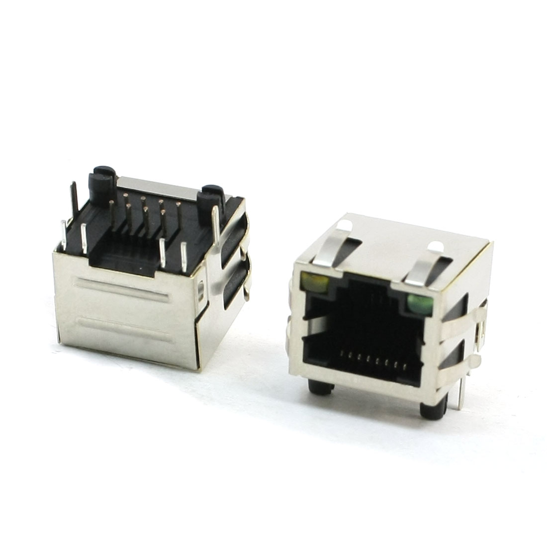 2 Pcs 2 LED 12P 8P8C RJ45 PCB Plug-in Type Jack Socket 17mmx16mmx16mm