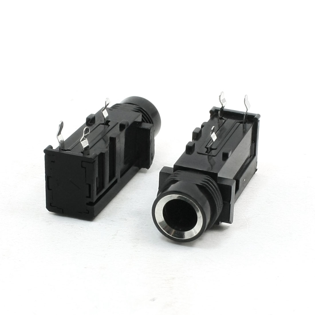 Replacement Black PCB Mounting 6.5mm 3 Terminal Audio Jack Socket 2Pcs