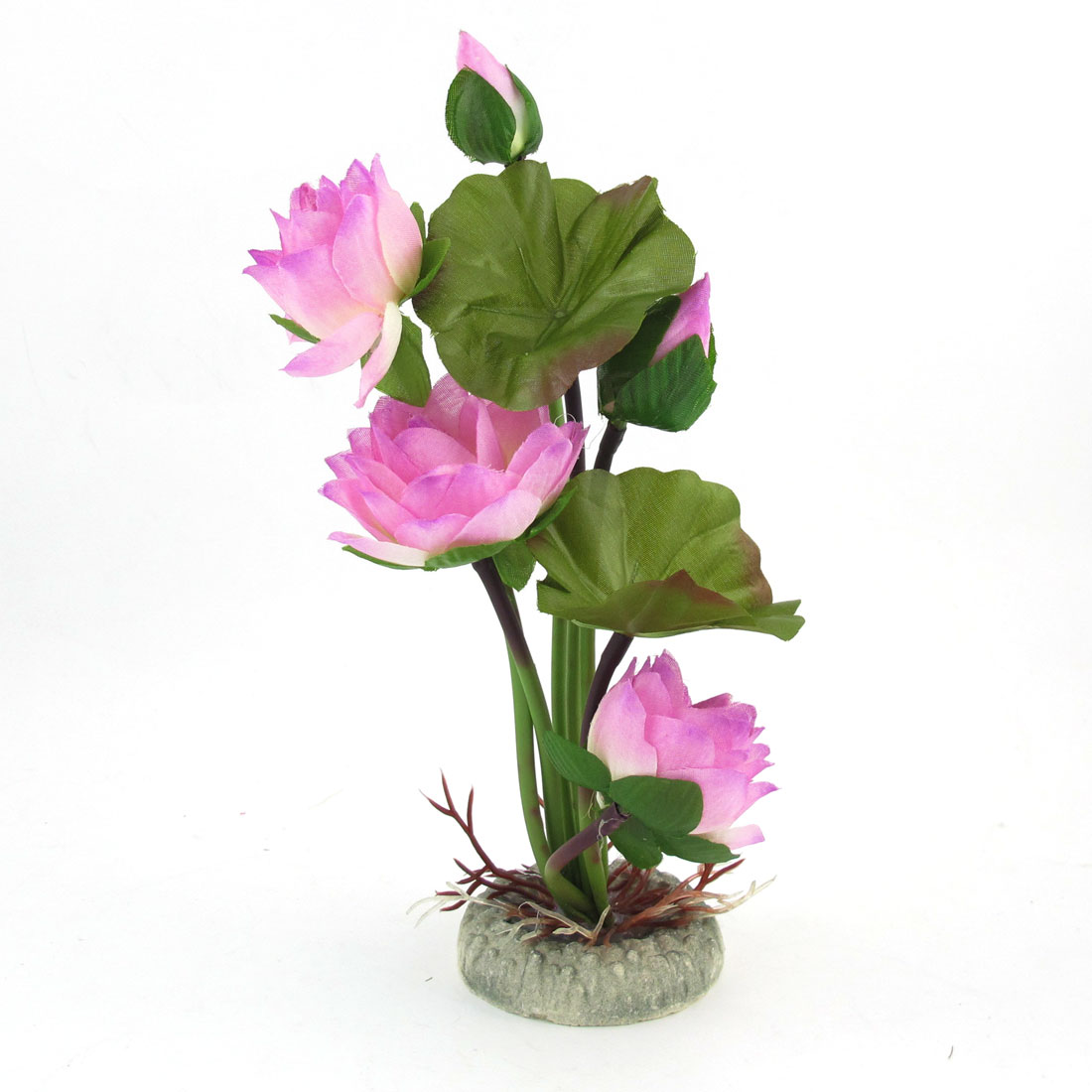 Fish Tank Simulation Pink Lotus Flowers Green Leaves Water Plant Decor