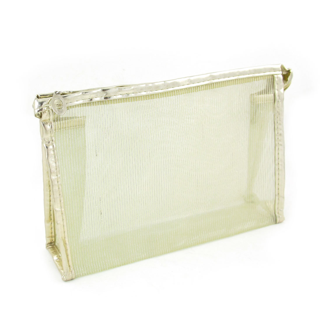 Beige Mesh Waterproof Cosmetic Organizer Handle Makeup Bag Cases