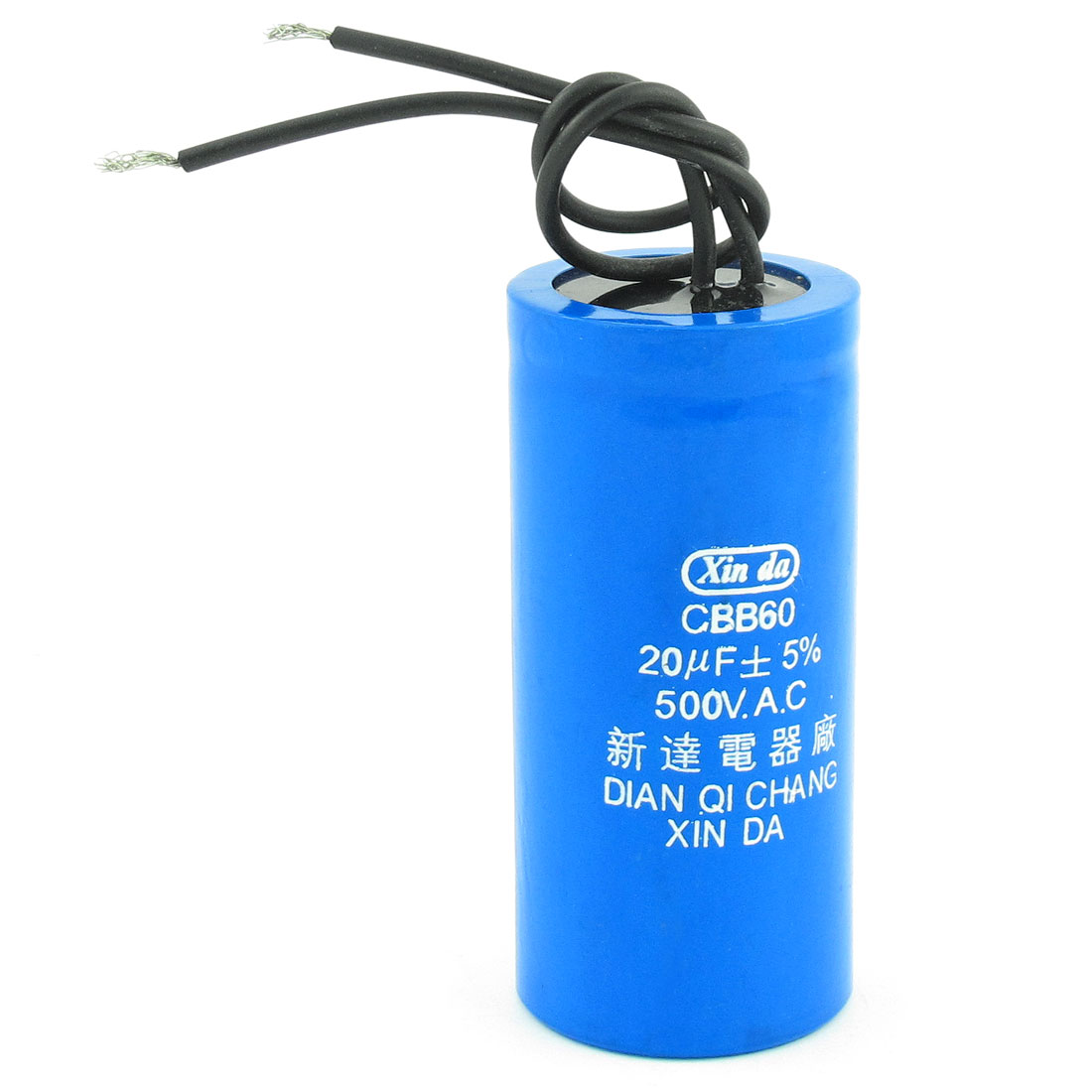 20uF 500V AC CBB60 Wired Lead Motor Run Capacitor Blue