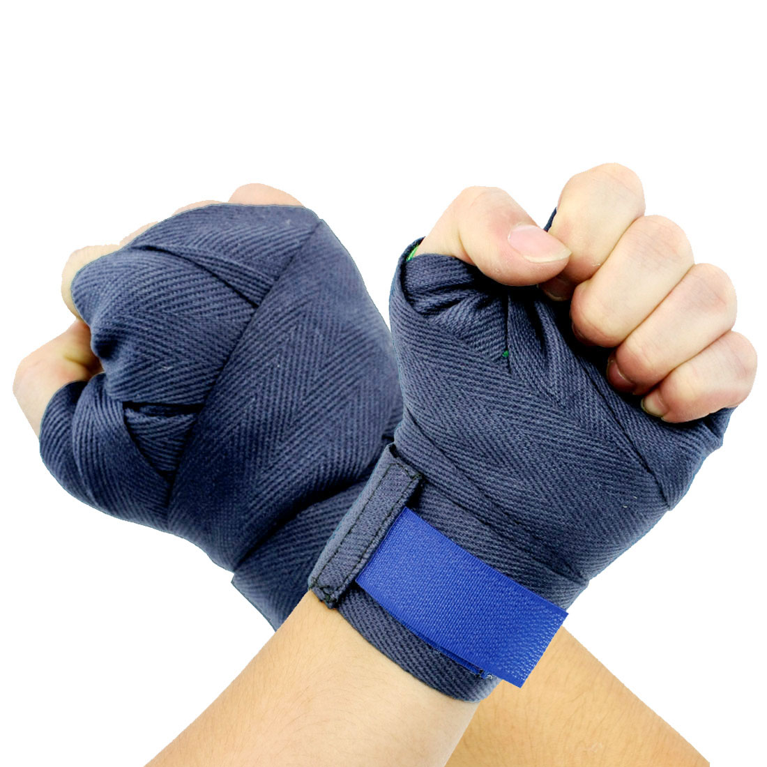Hook Loop Closure Blue Boxing Hand Support Wraps Bandages Pair