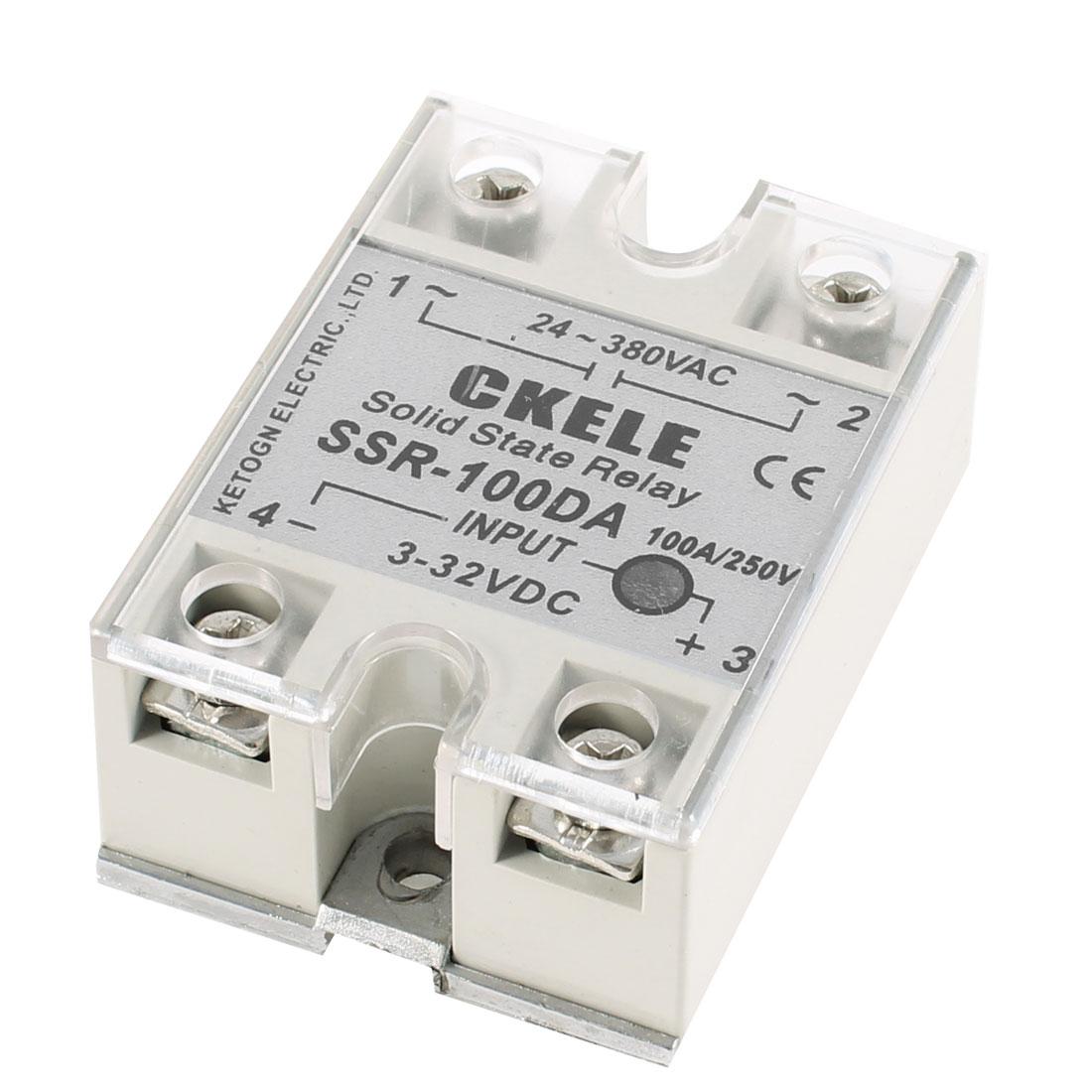 SSR-100DA 3-32V DC Input 24-380V AC Output 100A Solid State Relay