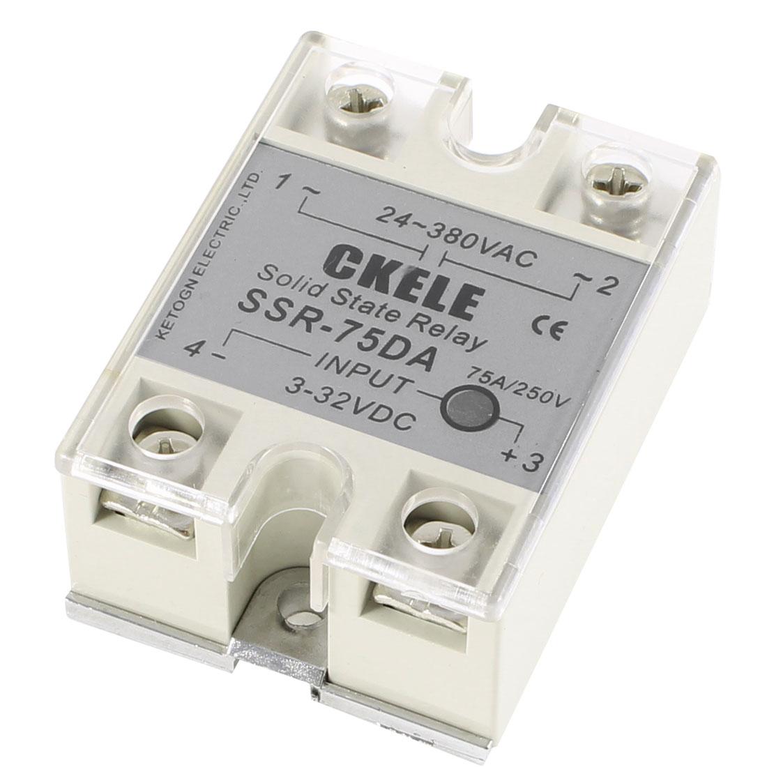 SSR-75DA 3-32V DC Input 24-380V AC Output 75A Solid State Relay