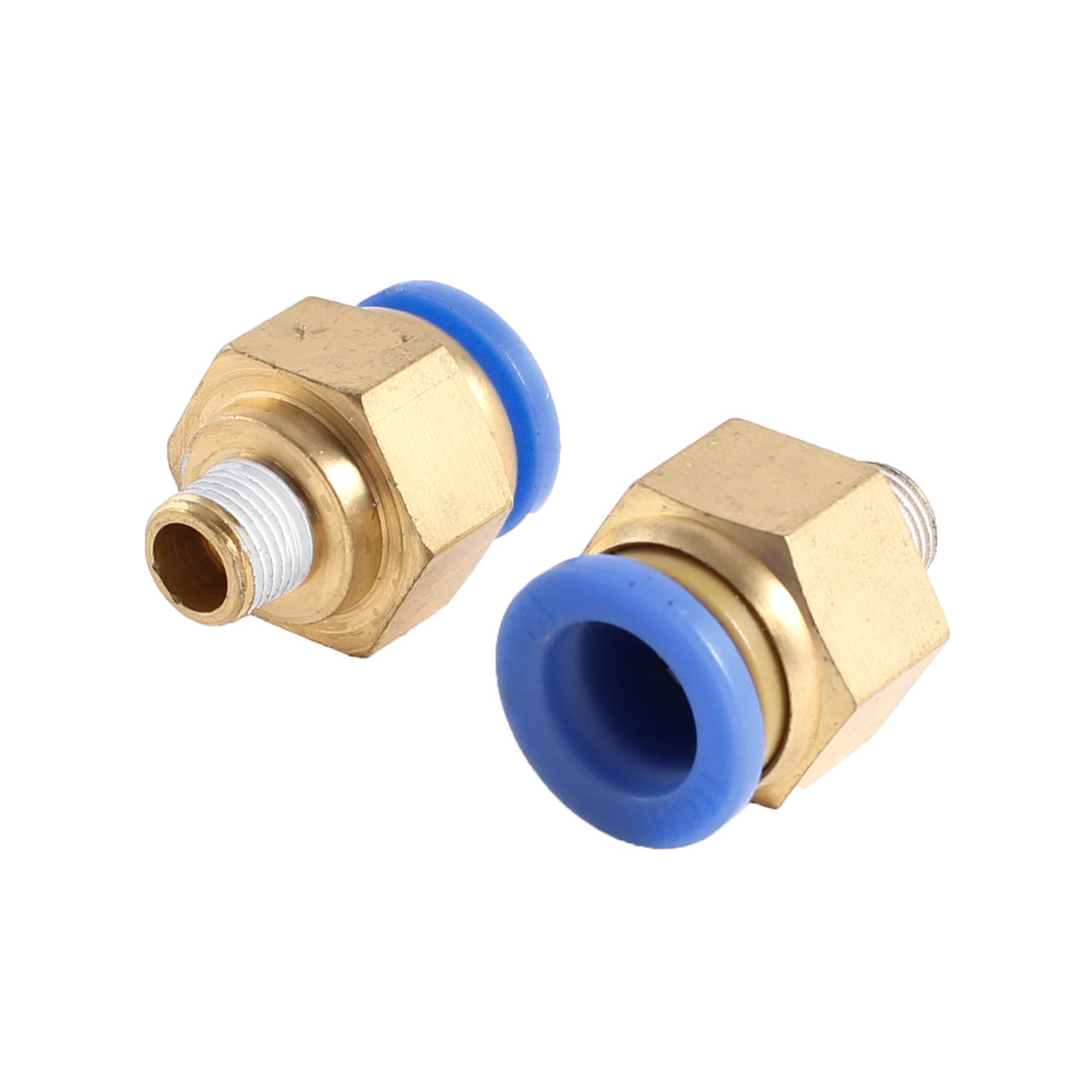 2 Pcs 10mm Male Thread to 12mm Hole Tube Air Pneumatic Push in Quick Joint