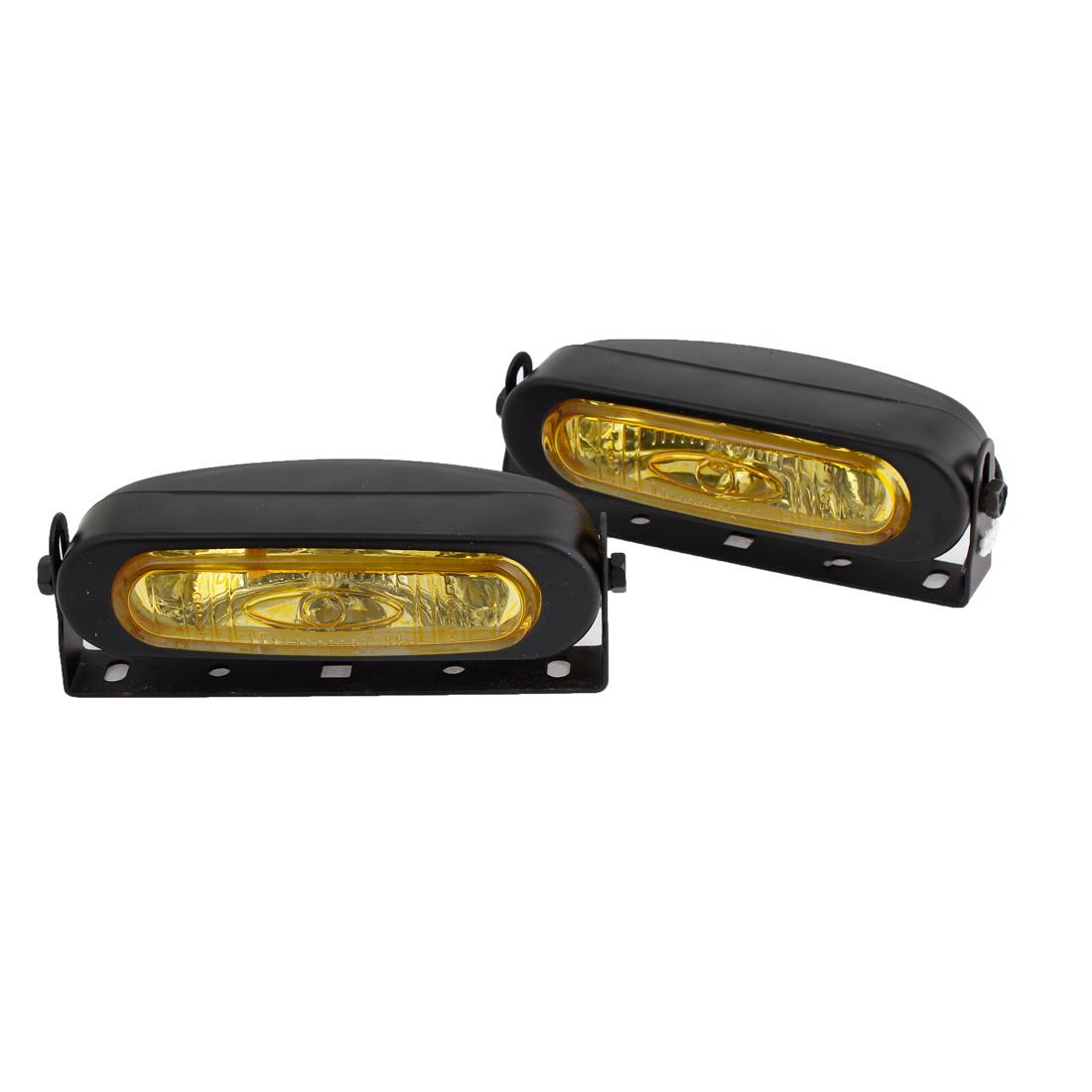 2 Pcs Black Yellow Casing H3 Yellow Light Fog Halogen Lamp Headlamp 55W DC 12V