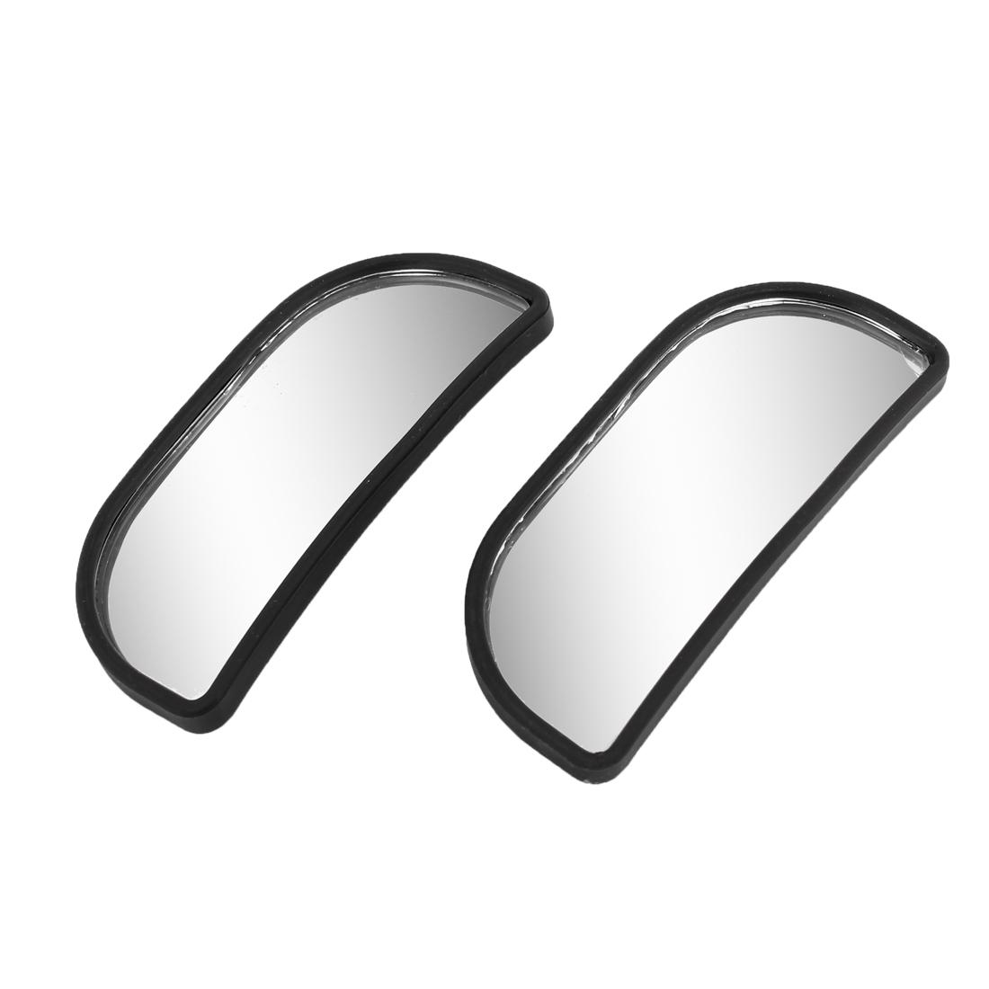 2 Pcs 8 x 3cm Black Plastic Frame Rearview Blind Spot Wide Mirror for Car
