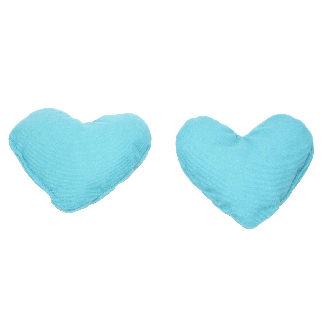 2 Pcs Light Blue Heart Shaped Pet Doggie Puppy Neck Pillow Headrest Pad Toy