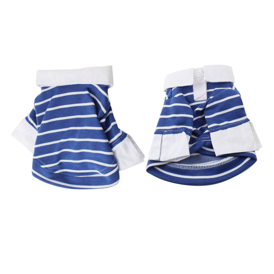 Blue White Stripe Pattern Collar Sleeves Pet Dog Puppy Clothes Shirt Coat XXS