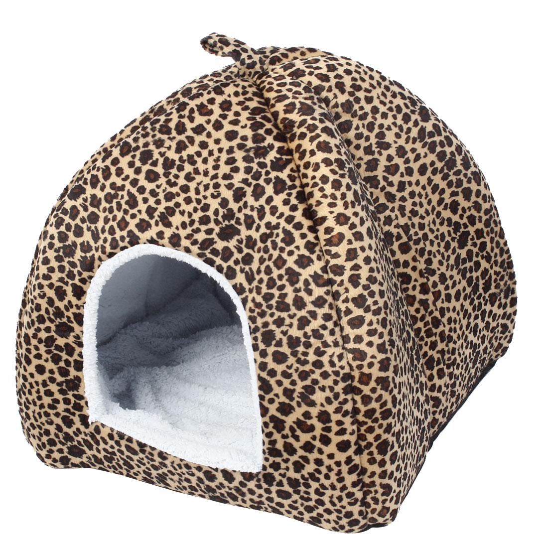 Brown Leopard Pattern 15cm Hole Width Pet Dog Cat Folding Tent Yurt Doghouse