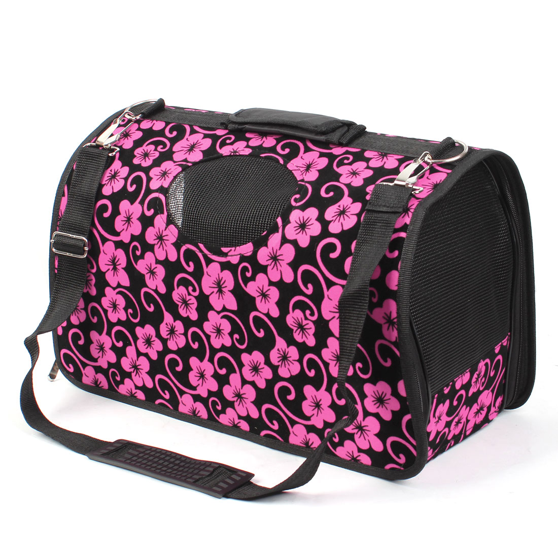 30cm High Flower Printed Folded Pet Dog Carrying Tote Mesh Bag Black Fuchsia