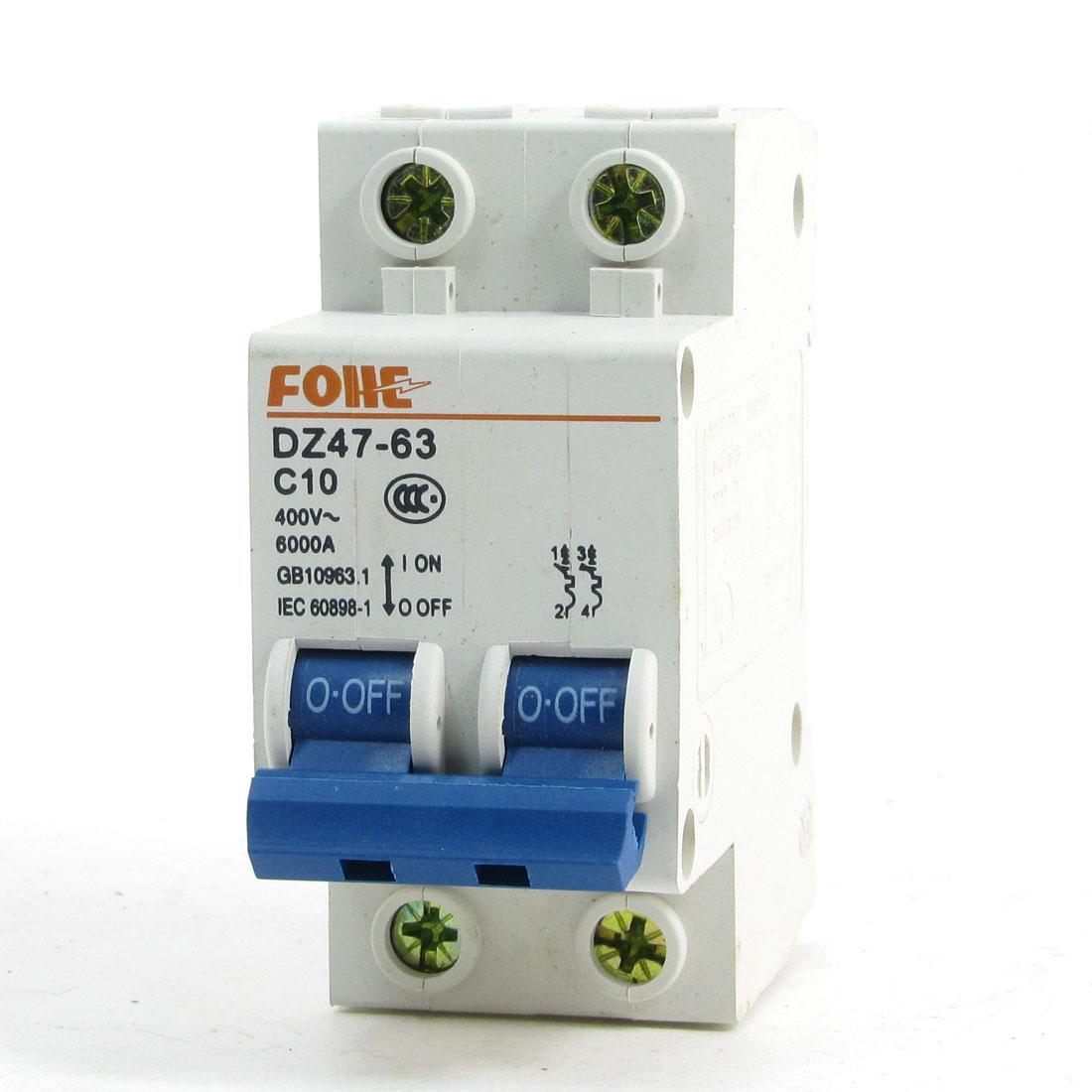DIN Rail 2 Pole Short Circuit Protector Breaker DZ47-63 400V 10A 6000A