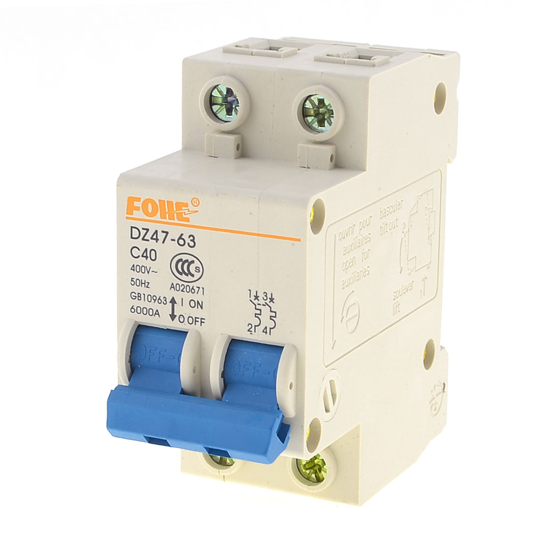 AC 400V 40A 2P Plastic Housing Short Circuit Breaker Protector DZ47-63