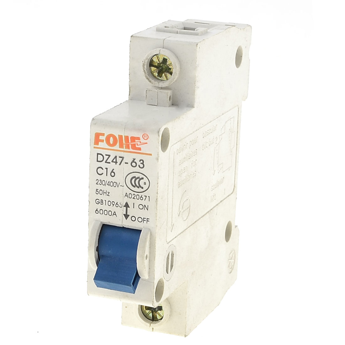 3.5cm DIN Rail Mounted DZ47-63 C16 AC 230/400V Single Pole Circuit Breaker