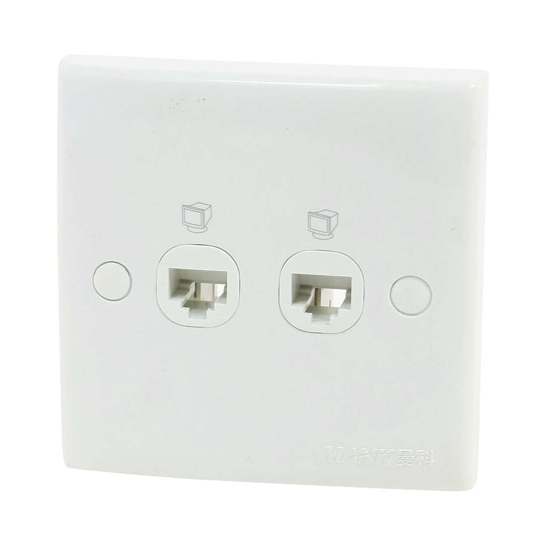 Plastic Shell RJ45 8P8C Network Wall Mount Plate Double Outlet Socket