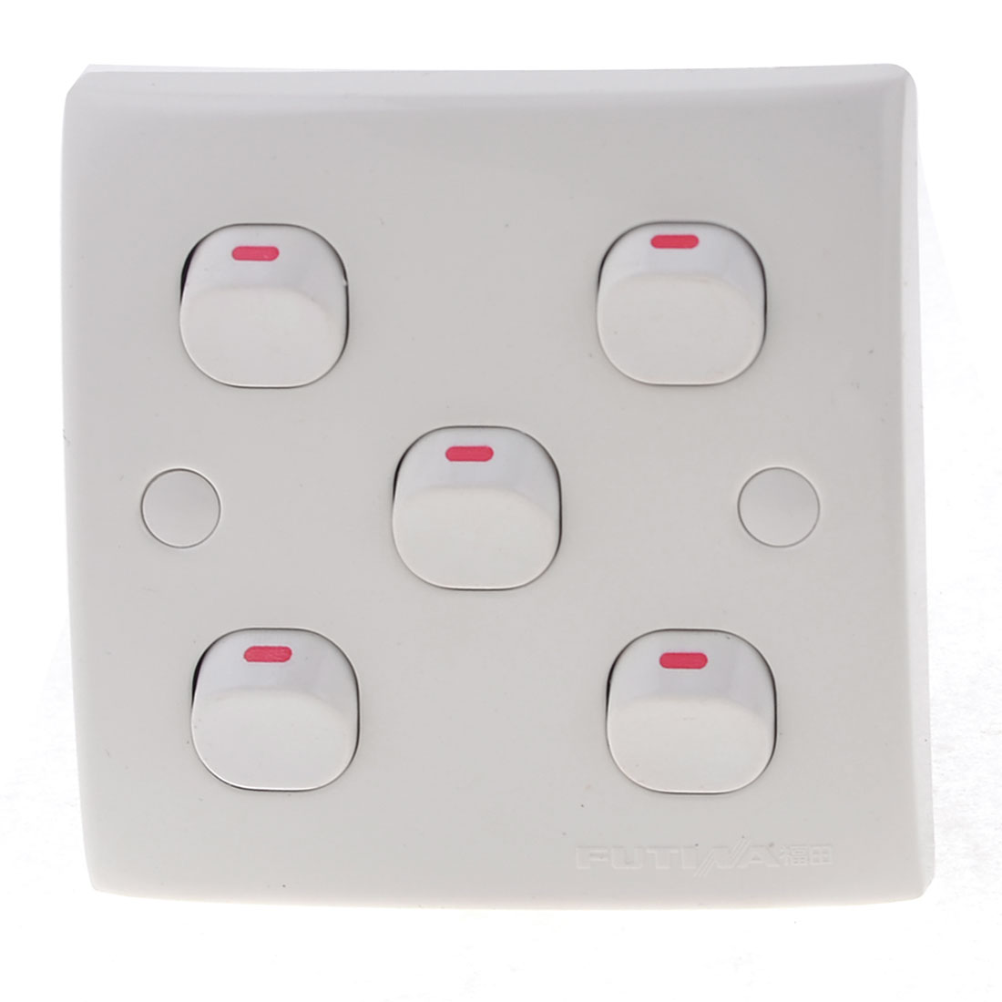 White Square 5 Gang On/Off Press Button Type Wall Switch Plate 10A 250V