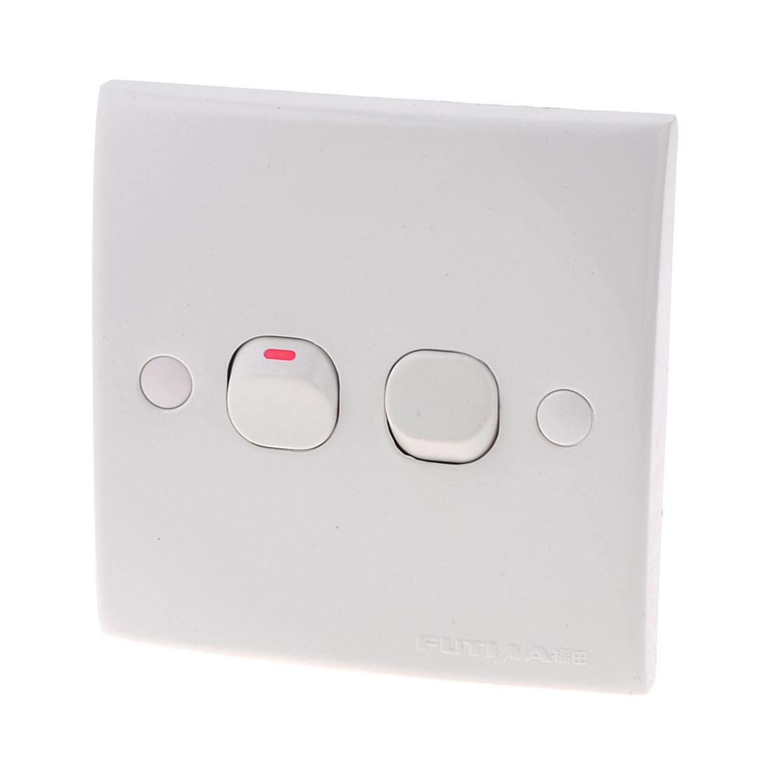 White Square Plastic Two Gang On-Off Push Button Type Wall Switch Plate