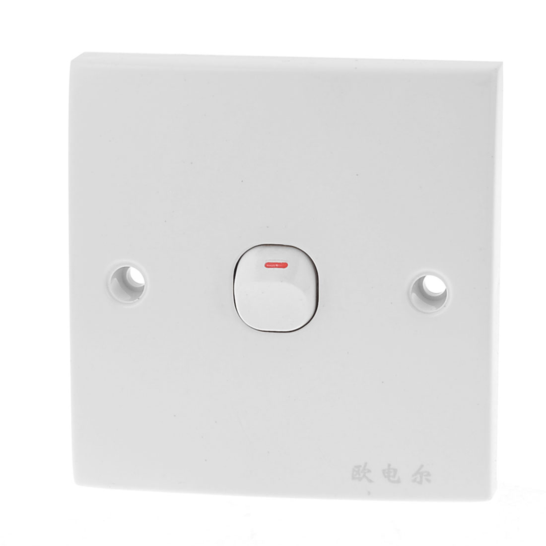 White Square Plastic Housing 1 Gang On/Off Wall Switch Plate 10A 250V