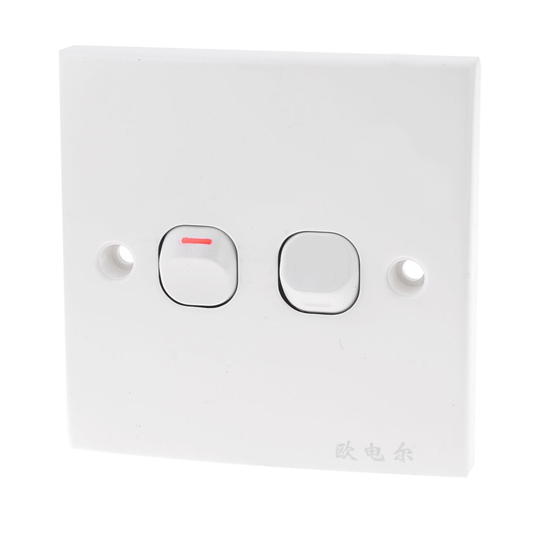 White Square Plastic Housing 2 Gang On/Off Wall Switch Plate 10A 250V