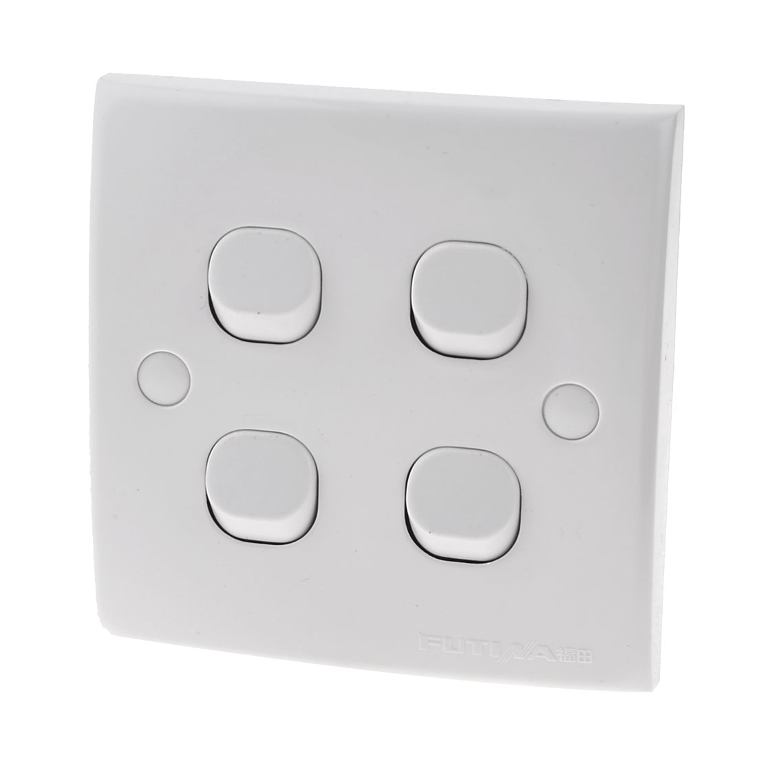 White Square 4 Gang On/Off Press Button Type Wall Switch Plate 10A 250V