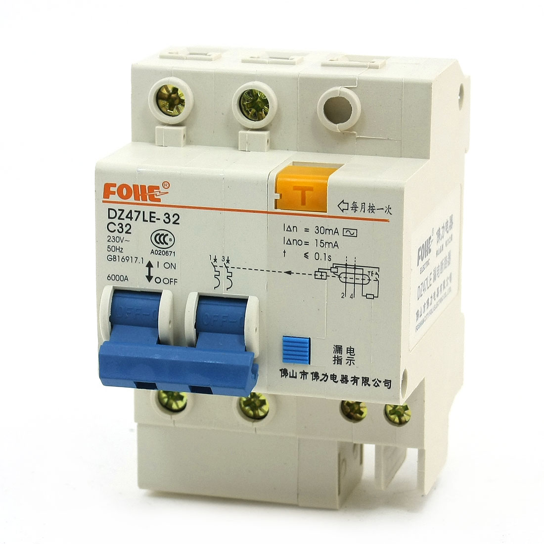 6000A Overload Protection 2P DIN Rail Circuit Breaker DZ47LE-32 32A
