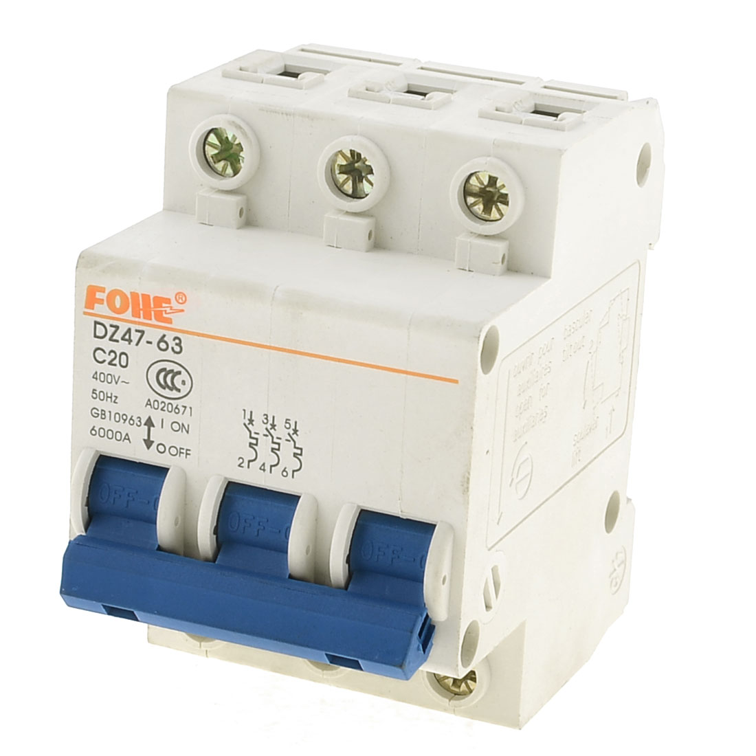 3.5cm DIN Rail Mounted DZ47-63 C20 AC 400V Three Pole Circuit Breaker