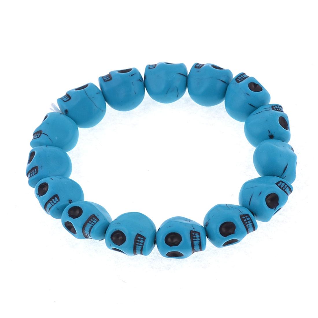 Lovers Blue Plastic Skulls Design Elastic Bracelet Bangle