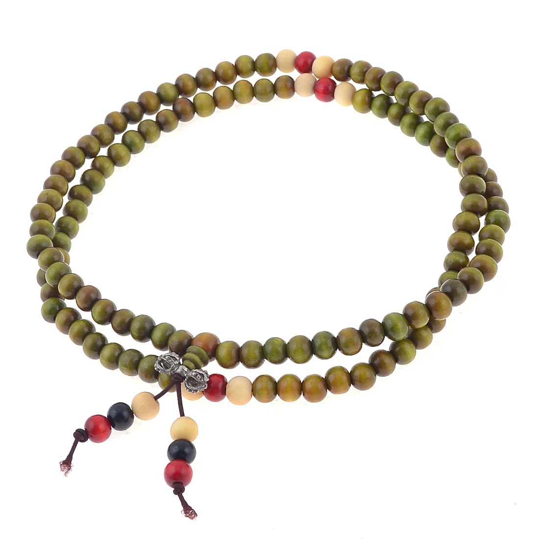 Olive Green Round Buddha Beads Elastic Bracelet Decor for Lovers