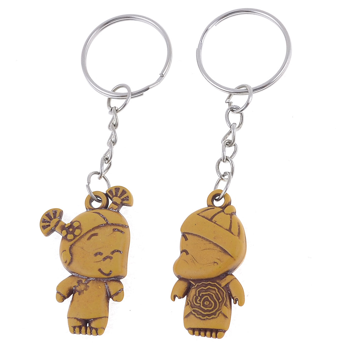 Brown Boy Girl Pendant Metallic Keyrings Keychains Pair for Couple Lovers