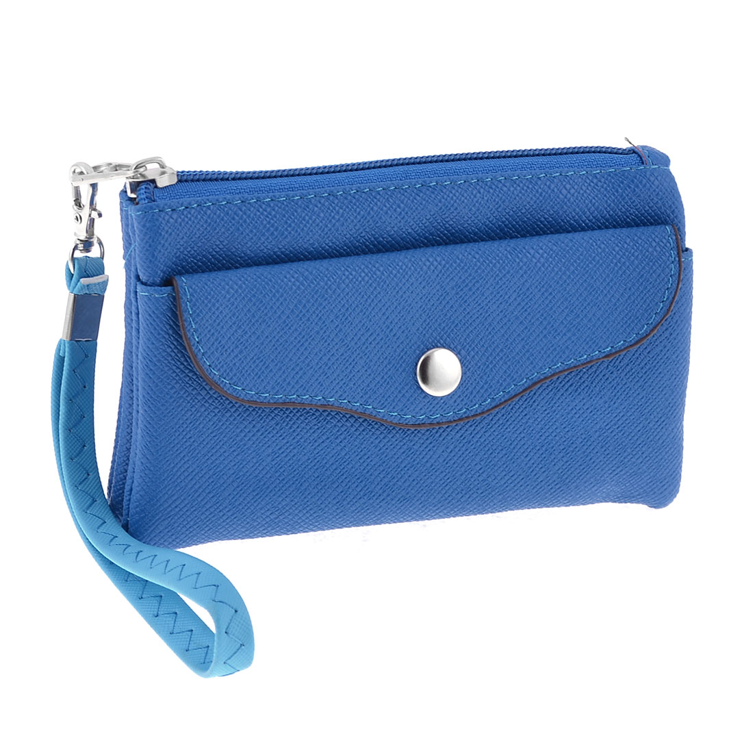 Lady Faux Leather Zipper 4 Compartment Hand Purse Wallet Blue