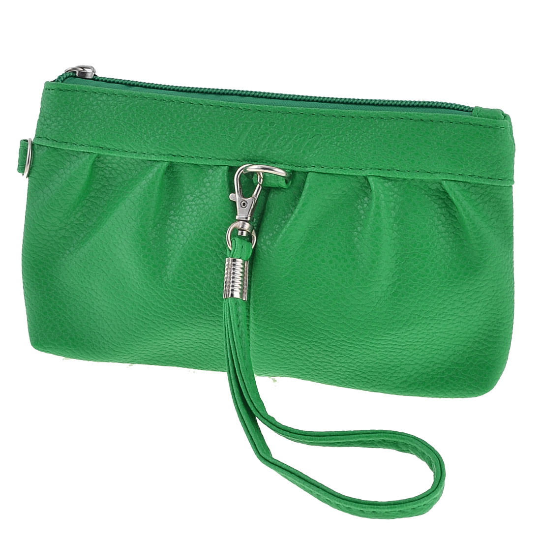 Women Green 2 Compartments Zipper Up Faux Leather Wallet Purse Bag