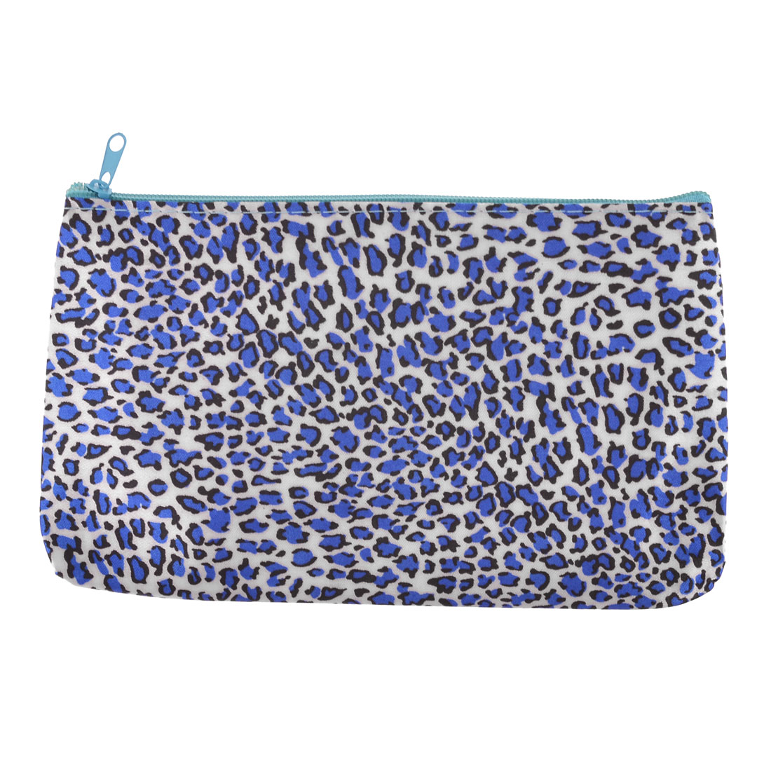 Women Leopard Pattern Blue Zip Up Makeup Cosmetic Bag Packet