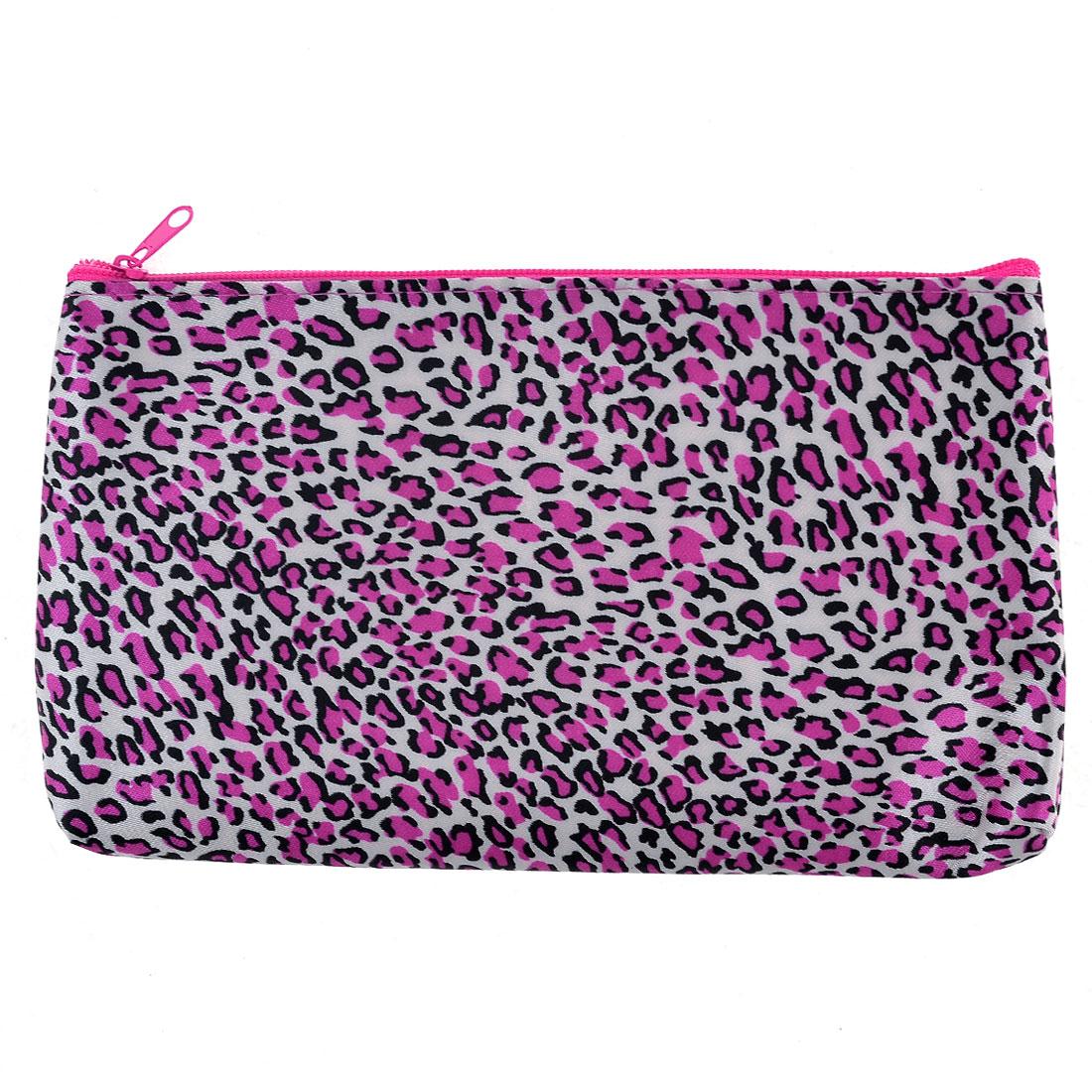 Women Fushcia Leopard Pattern Toiletries Cosmetic Pouch Bag