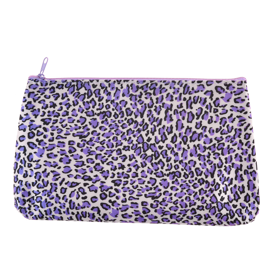 Ladies Purple Polyester Leopard Pattern Zippered Cosmetic Bag Holder