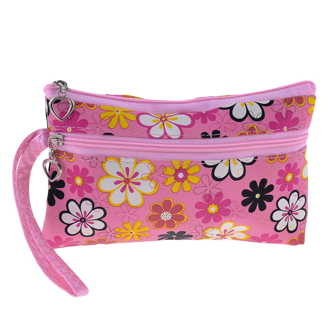 "5.9"" High Double Zipper Flower Printed Coin Change Purse w Wrist Starp"
