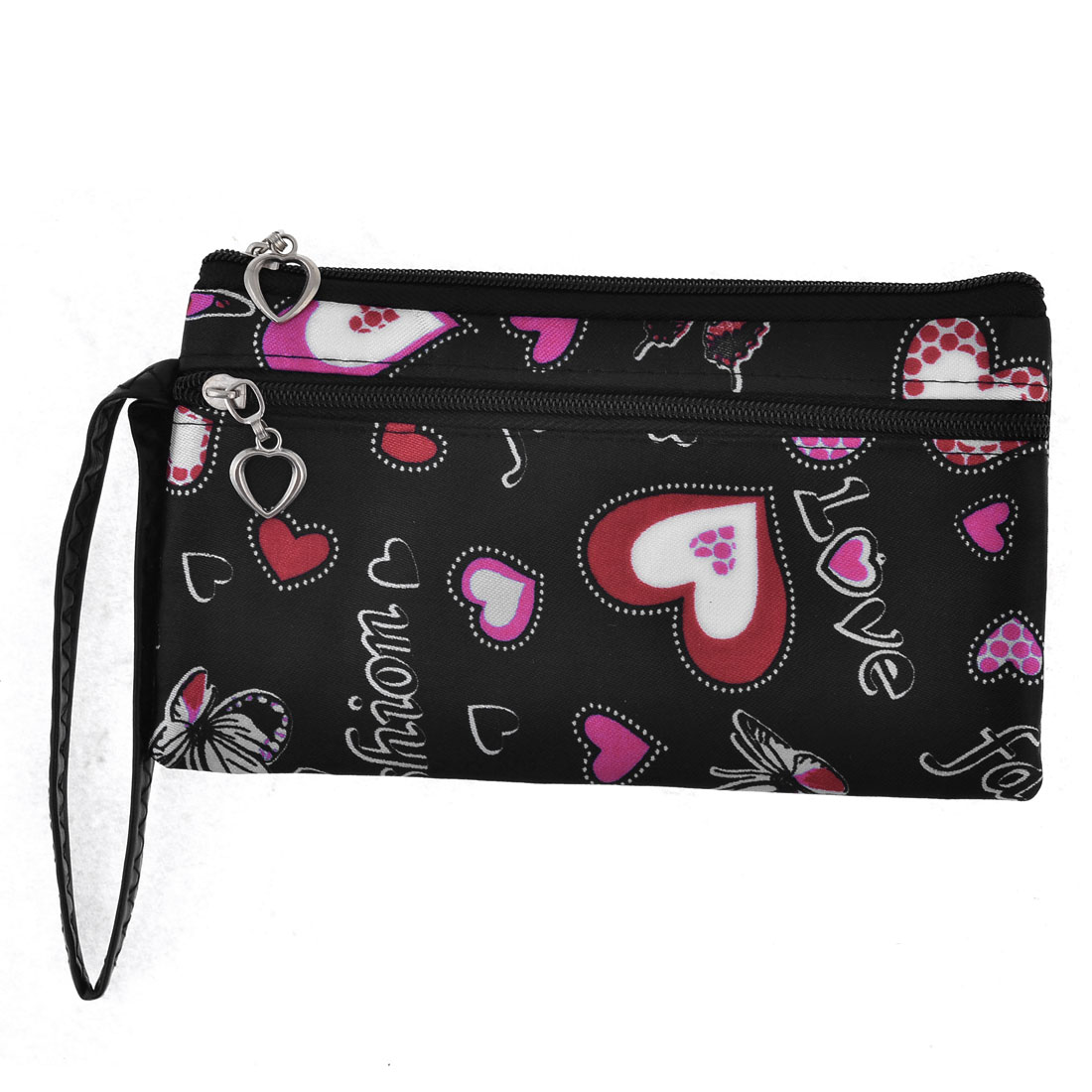 Black Zippered Heart Printed Wrist Bag W Hand Strap for Girls