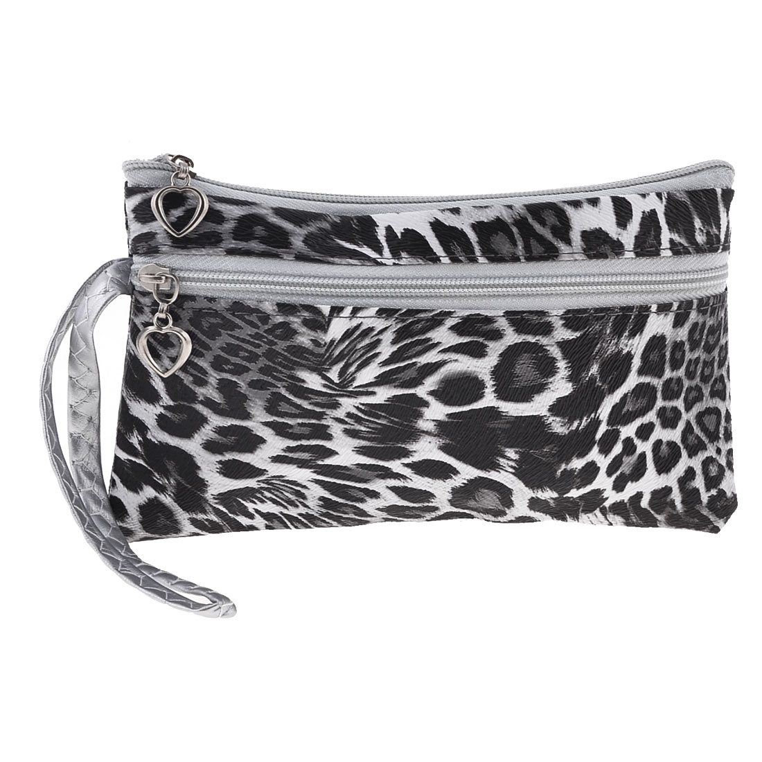 Zippered Retangle White Black Purse Wallet for Lady