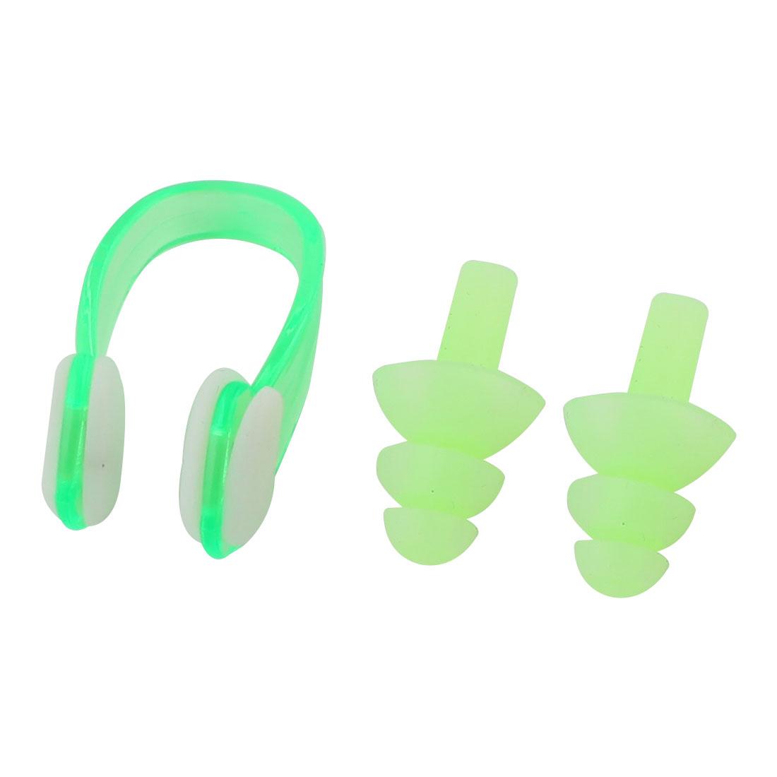 Green Silicone Earplugs Plastic Nose Clip Set for Swim Swimming